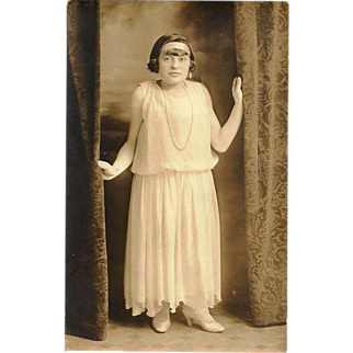 "c1915 Manhattan, New York City Photographic Studio Portrait RPPC Real Photo Postcard - Young ""Little"" Woman - Vintage Women's Fashion:  White Confirmation Dress / Wedding Gown - White High-Heeled Shoes - Headband - Pearl Necklace -Victoria Photo Shop"