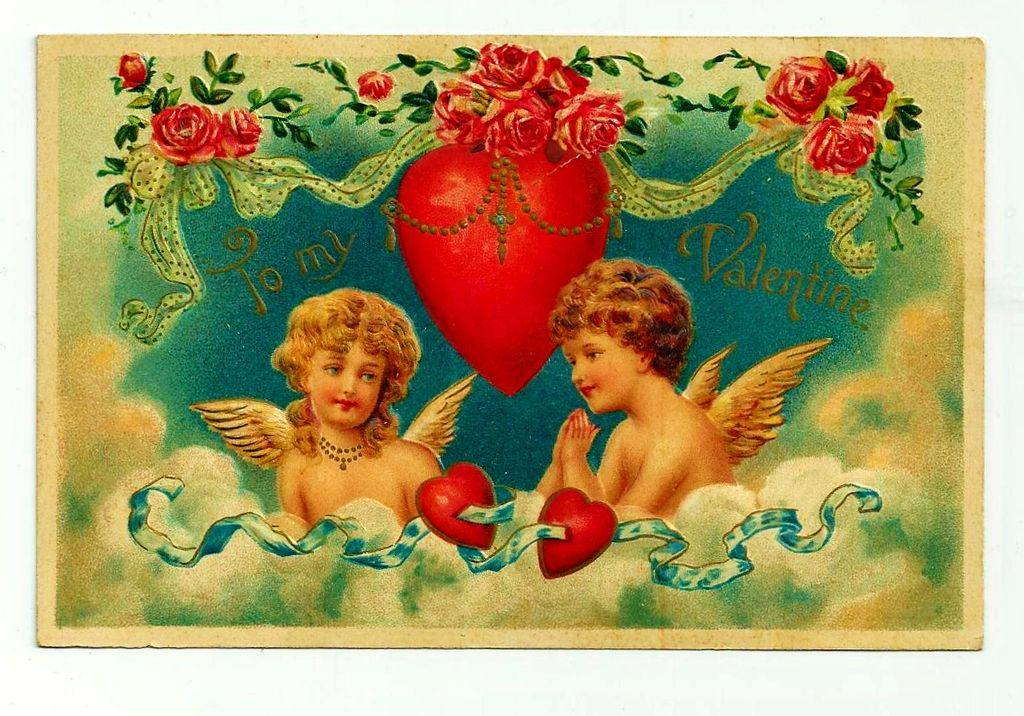 c1909 Cupids Valentine Antique Postcard -  Blonde Girl and Brunette Boy in a Cloud - German-Made Heavily Embossed Color Lithograph