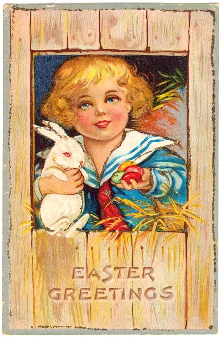 c1910 Easter Rabbitt Bunny and Egg Vintage Postcard - Easter Greeting - Boy in Sailor Suit - Janesville Wisconsin Address - Unposted