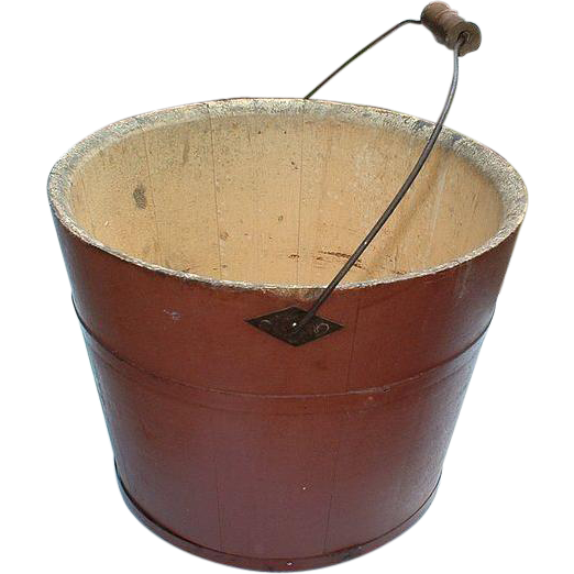 Shaker Society Mount Lebanon Village Community Vintage Antique 19th Century Red Wooden Bucket and  Sap Bung - Mount Lebanon, New York Shaker Community