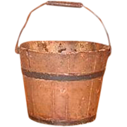 Shaker Society Mount Lebanon Village Community Antique Children's Berry Bucket - Wooden Pail with Bail Handle - Mount Lebanon, Shaker New York  Community