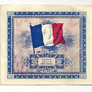 World War II Allied-Occupied France Wartime Paper Currency in Almost Un-circulated (AU) Condition - 1944 French AM-Franc Banknote - 2-Franc Denomination - Issued by Allied Military Government for Occupied Territories (AM)