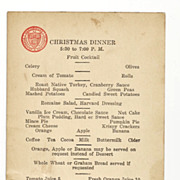 1932 Harvard University Vintage Memorabilia - Harvard Union 1932 Christmas Dinner Menu - Harvard College Freshman Dining Hall - Cambridge, Massachusetts