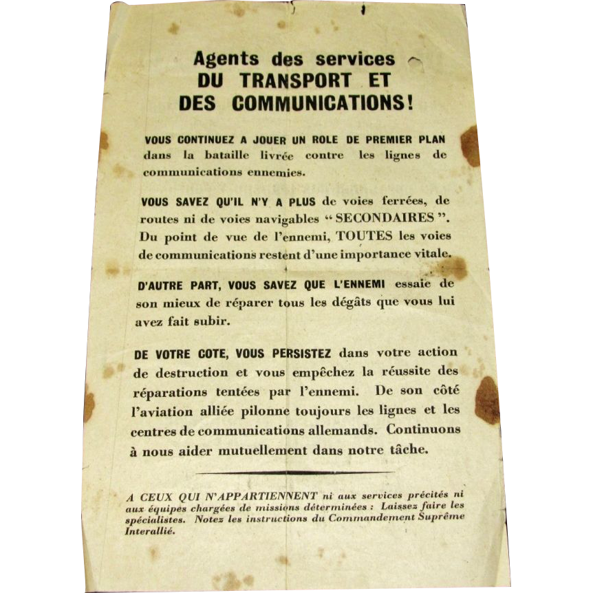 1944 World War Two-2-II  Wartime Memorabilia - European Front D-Day Invasion – Supreme Allied Command Propaganda Leaflet to French Resistance Transportation Workers - Extremely Rare