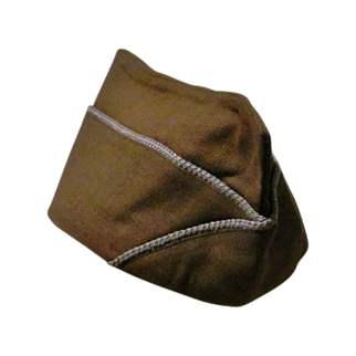 World War Two II-2 U. S. Army Infantry Uniform Cap - 1943-1945 Overseas Garrison Side Cap – Brown with Light Blue Piping