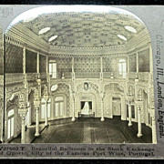 c1920 Porto, Portugal The Palácio da Bolsa (Stock Exchange Palace) Arab Room Stereo-view – Center of Portuguese Port Wine Production - Glossy Finish Keystone Real Photo Stereo View – Underwood & Underwood Negative