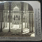 c1920 The Alhambra Court of the Lions (Patio de los Leones) Stereo-view – Granada Spain Moorish Citadel – Glossy Finish Keystone Real Photo Stereo View