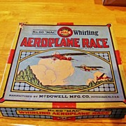 "Whirling Aeroplane Race Vintage Game in Original Box - ""Mac"" No. 60 Manufactured by McDowell Mfg. Co., of Pittsburgh, Pennsylvania - c1920-1939"