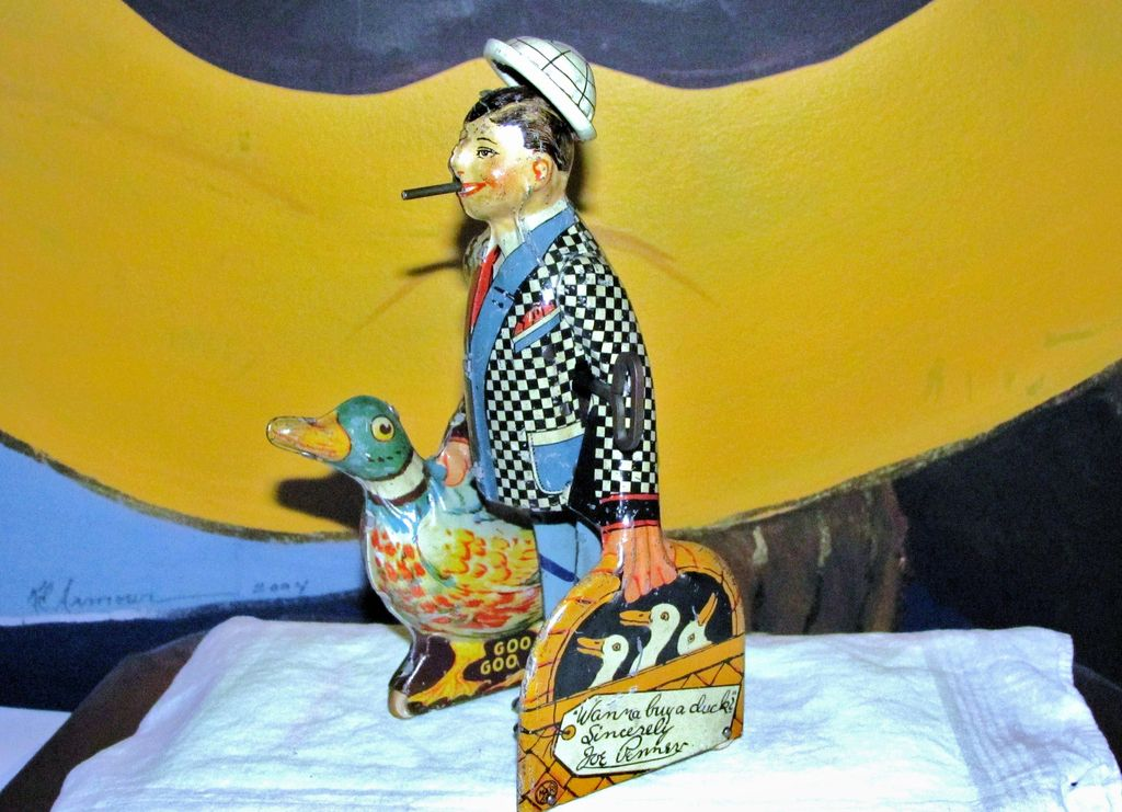 Vintage Wind-up Walker Toy - Radio Comedian Joe Penner and Duck Goo-Goo - Voice by Mel Blanc  -  Louis Marx Company Circa 1934