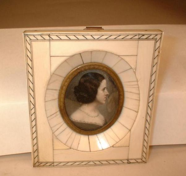 Miniature Water Color Portrait Painting - Authentic Vintage c1830-1865 Woman's Portrait - Gregory, Wayne County, Kentucky Young Woman