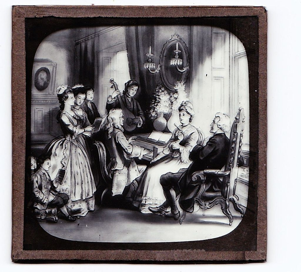 "c1900 English Magic Lantern Slide - Scene From  ""The Vicar of Wakefield"" 18th Century Irish Novel - Lithograph on Glass - Author Oliver Goldsmith"