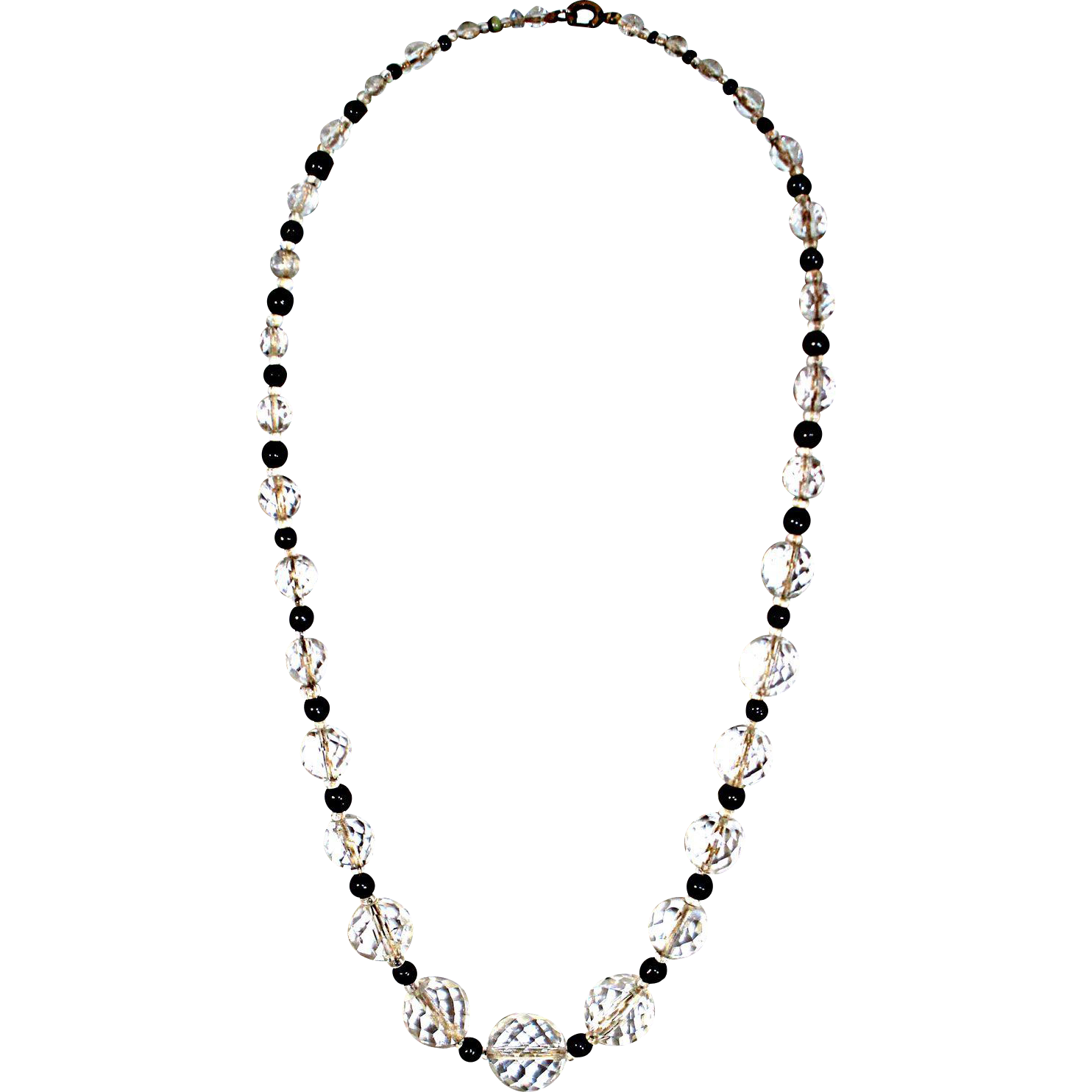 Vintage 1930s Graduated Cut Crystal Bead Necklace