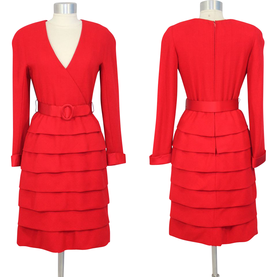 Vintage 80s Arnold Scaasi Couture Red Wool & Satin Cocktail Dress XS/S
