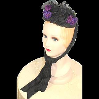 Victorian 1880s Embellished Black Toque Bonnet w/Purple Flowers