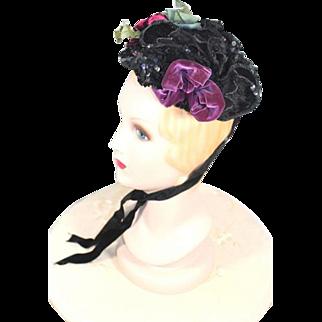 Victorian 1880s Sequinned Black Silk Bonnet w/Purple Velvet Bow