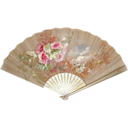 Late Victorian Hand-Painted Silver-Grey Silk Ladies Folding Fan Artist-Signed