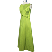 Vintage 1960s Lime Silk Shantung A-Line Evening Gown S