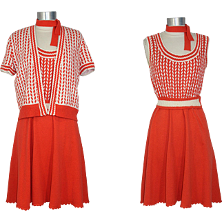 Vintage 1970s St John Knits Orange Op Art Dress & Cardigan S/M