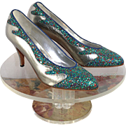 NOS Vintage 1990 Sebastian Silver Leather & Multi-Sparkle Pumps Shoes 9.5