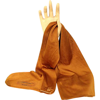 NOS Vintage 1920s Wanamaker Marigold Silk-Blend Seamed Stockings 8.5