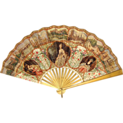 Victorian Lithographed Paper Fan Souvenir of London