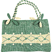 1910s Green & Cream Knit Wool Purse w/Pendants