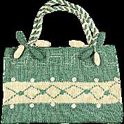 1910s Green & Cream Knit Wool Purse w/Pendants