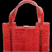 Vintage 1960s Dyed Red Snakeskin Top Handled Purse or Handbag