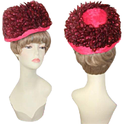 Vintage 1960s Carnation Pink & Pheasant Feathers Mod Derby Hat