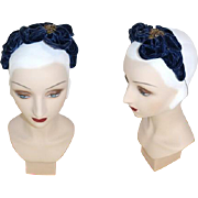 Vintage 1930s Blue Velvet Bandeau Headpiece w/Gold Sequin Accent