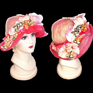 Vintage 1960s Garden Party Pink Transparent Wide Brim Cloche Hat