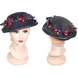 Late 1910s Fruit-Trimmed Navy Straw Hat Rosenthal-Sloan