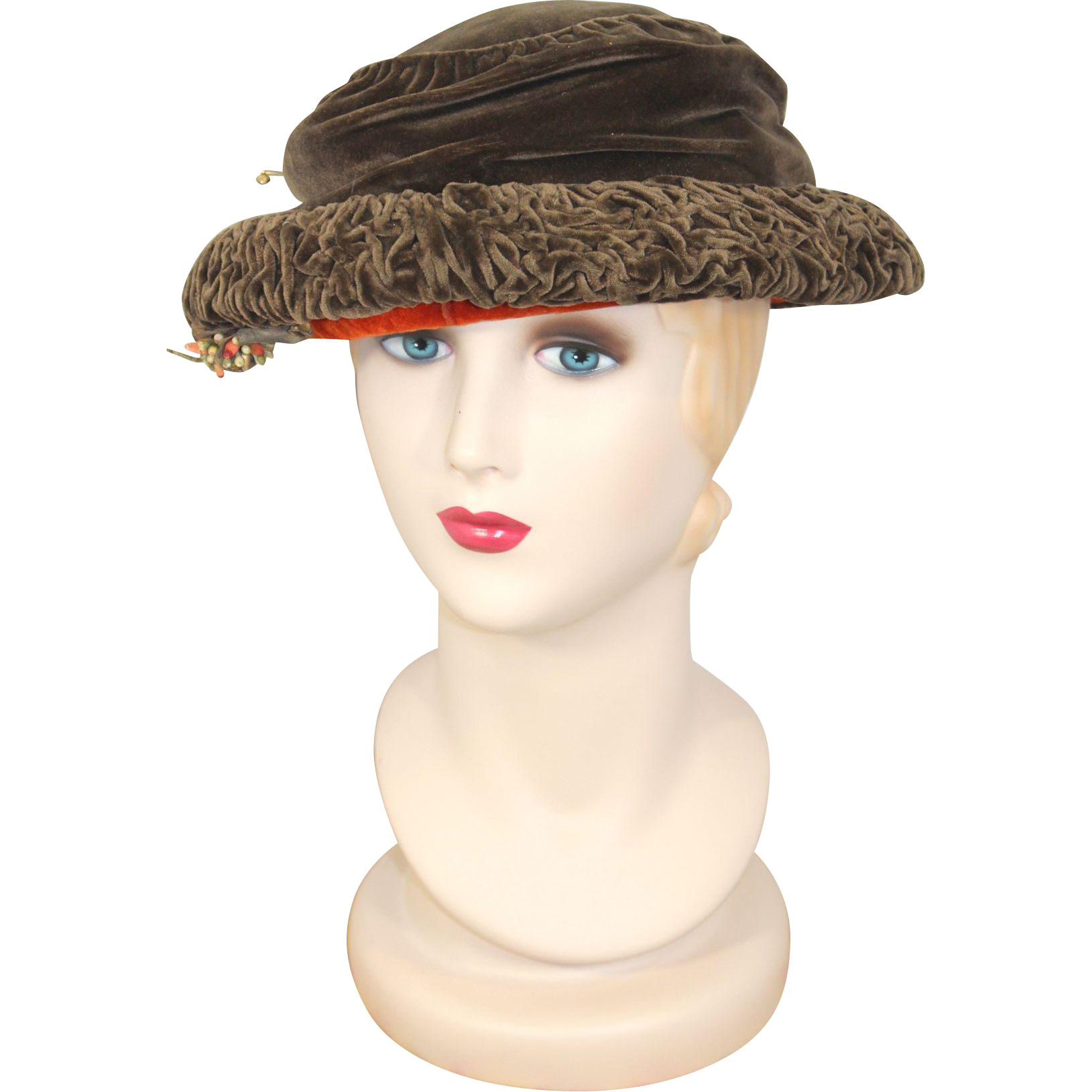 Vintage 1920s Spice Brown Velvet Cloche Hat Gainsborough Millinery
