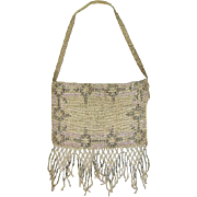 1920s Silver, Grey & Lilac Steel-Beaded Envelope Purse w/Fringe