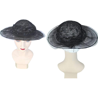 Late Teens 1910s Black Transparent Wide Brim Hat w/ Spangled Crown
