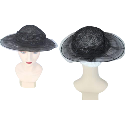 Late Teens 1910s Black Transparent Wide Brim Hat w/ Spangled Crown