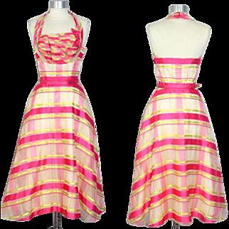 "Deadstock 1950s Ribbon Stripe Organza Party Dress ""Vogues & Vanities"" XS"