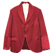 Late Victorian 1890s Garnet Red Wool & Quilted Satin Smoking Jacket S
