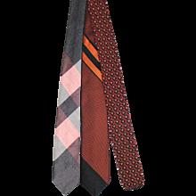 Vintage c.1960 Trio of Autumnal Skinny Ties