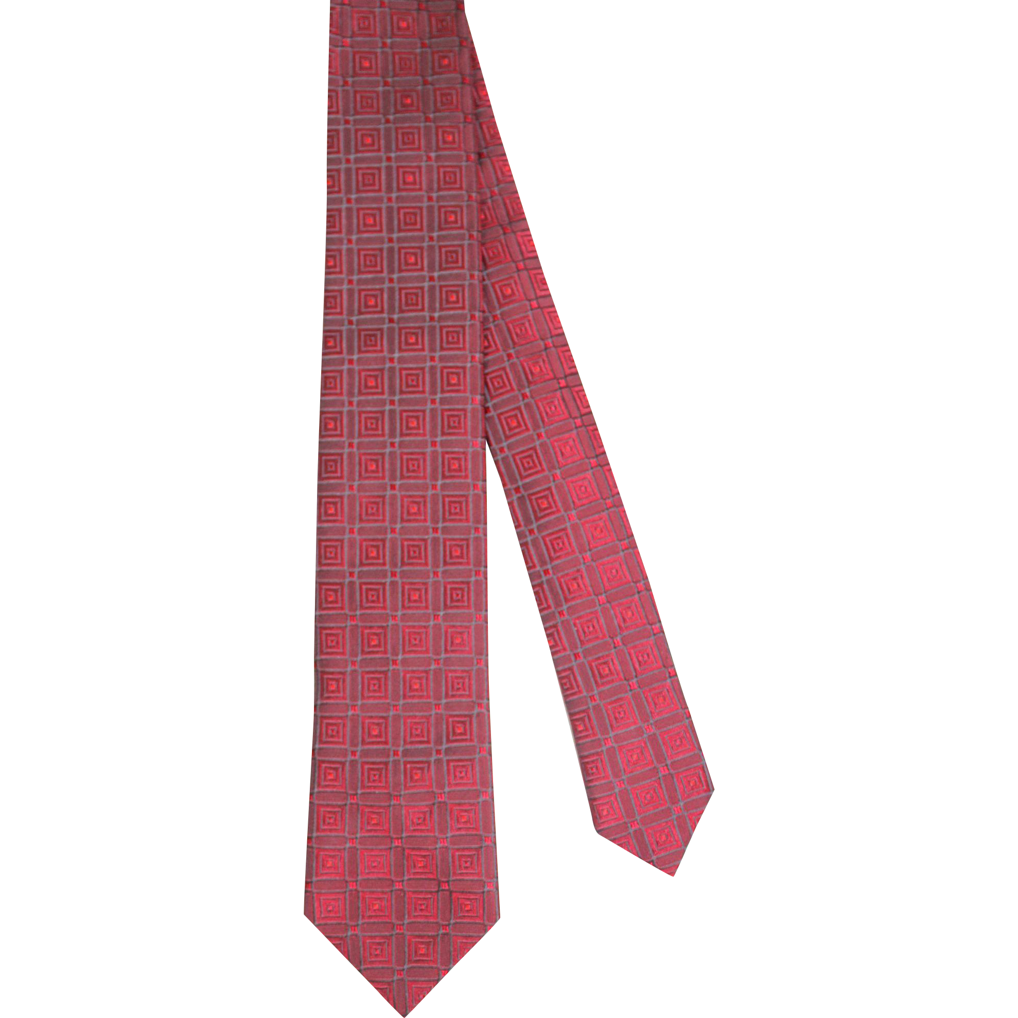 Vintage 1960s Wembley Iridescent Red Geometric Brocade Skinny Tie