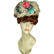 Vintage c 1960 Irene of New York White Nest of Roses Hat