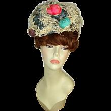 Vintage c 1960 Irene of New York White Nest of Roses Hat