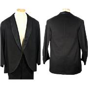1890s Late Victorian Black Wool Tuxedo Dinner Jacket Eveningwear