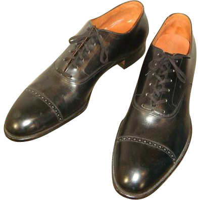 NOS Vintage 1950s Black Leather De Luxe Bostonians Dress Oxfords 11 N