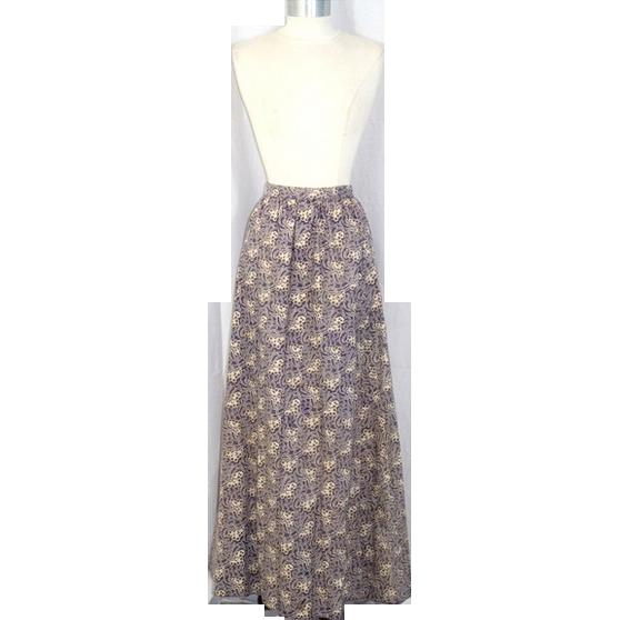 Late Victorian 1890s Art Nouveau Print Mulberry Cotton Lawn Skirt