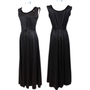 Vintage c.1950 Hattie Carnegie Black Duchesse Satin Gown S/M FINAL CLEARANCE
