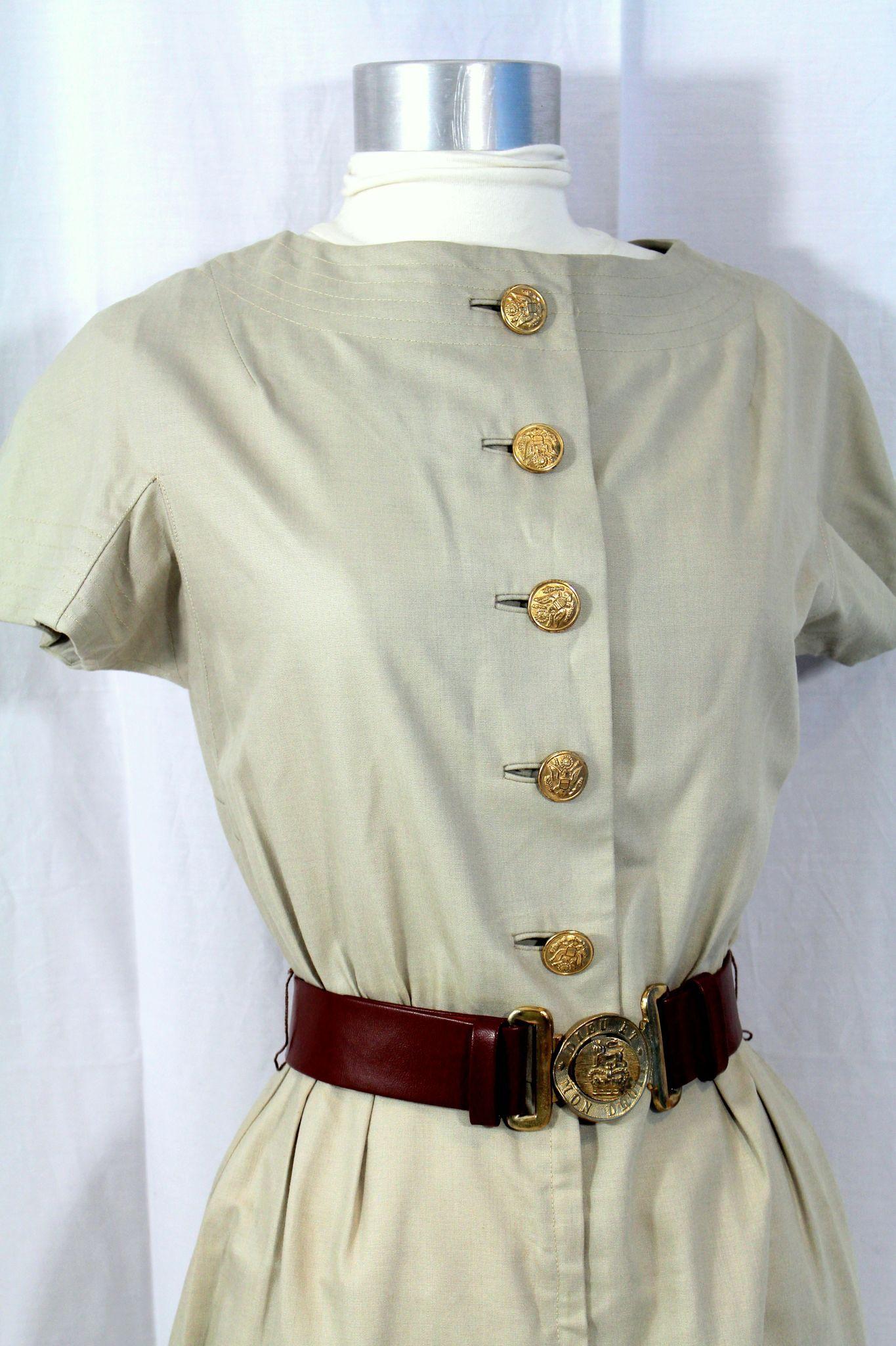Vintage 1950s Junior Sophisticates Khaki Poplin Dress W