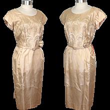 Vintage NOS 1960s Champagne Organza Satin Wedding or Cocktail Dress M/L