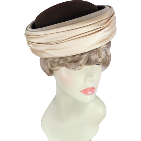 Vintage 60s Schiaparelli Chocolate Wool & Cream Satin Breton Hat