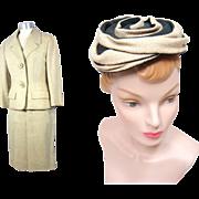 Vintage 1950s Lanvin-Castillo/Maria Carine Oatmeal Tweed Suit & Hat Ensemble XS/S